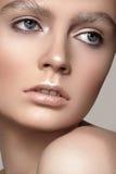 与冬天构成的美丽的时装模特儿面孔,雪眼眉,发光的纯净的皮肤 图库摄影