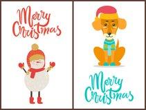 与冬天标志的圣诞快乐祝贺 库存照片