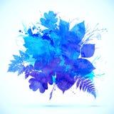 与冬天标志的蓝色水彩叶子横幅 免版税库存图片
