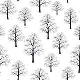 与冬天树枝的无缝的样式纹理背景 黑色白色 免版税库存照片