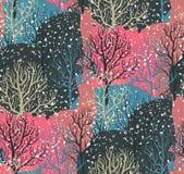 与冬天森林的向量无缝的模式 库存例证