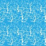 与冬天森林的向量无缝的模式 免版税库存图片