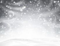与冬天风景、雪、风和bliz的灰色发光的背景 库存例证