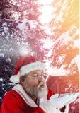 与冬天风景的圣诞老人 图库摄影