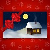 与冬天风景的寒假卡片 库存图片