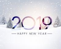 与冬天风景的被弄脏的新年快乐2019卡片 皇族释放例证