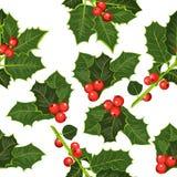 与冬青树的无缝的样式 愉快的圣诞节背景! 免版税库存照片
