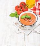 与冰、新鲜的蓬蒿和红色蕃茄的冷的gazpacho汤 库存图片