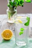 与冰、柠檬切片和新鲜薄荷的柠檬水在玻璃 免版税库存图片