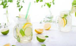与冰、柠檬和石灰切片的柠檬水在有秸杆的一个瓶子 免版税库存图片
