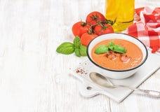 与冰、蓬蒿和蕃茄,拷贝空间的冷的gazpacho汤 库存照片