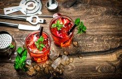 与冰、薄荷叶和草莓的红色饮料 鸡尾酒 库存图片