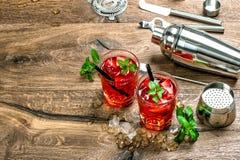 与冰、薄荷叶和草莓的红色鸡尾酒 免版税库存照片