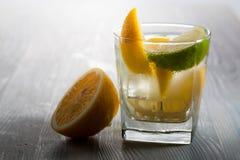 与冰、补品和柠檬切片的杜松子酒在一张木桌上 免版税库存图片