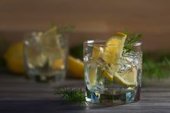 与冰、补品和柠檬的杜松子酒在一张老木桌上 免版税库存图片