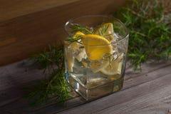 与冰、补品和柠檬的杜松子酒在一张老木桌上 库存照片