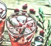 与冰和迷迭香的国内鸡尾酒 水果的鸡尾酒饮料装饰用冷冻或新鲜的莓,草莓,迷迭香,冰 免版税图库摄影