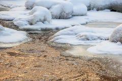 与冰和雪的流动的水 免版税图库摄影