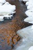 与冰和雪的流 免版税库存照片