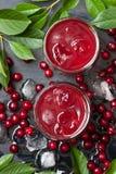 与冰块和成熟甜樱桃的樱桃汁 免版税库存照片
