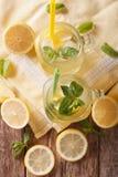 与冰块和薄菏接近的刷新的柠檬水 垂直的t 免版税库存照片