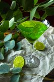 与冰块的一份绿色饮料在mojito的一块玻璃在被弄皱的w 图库摄影