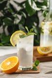 与冰块的柑橘薄荷的柠檬水在葡萄酒玻璃水瓶旁边的玻璃杯 夏天饮料Limoncello 免版税库存图片