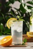 与冰块的柑橘薄荷的柠檬水在葡萄酒玻璃水瓶旁边的玻璃杯 夏天饮料Limoncello 库存照片