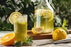 与冰块的柑橘薄荷的柠檬水在葡萄酒玻璃水瓶旁边的玻璃杯 夏天饮料Limoncello 库存图片