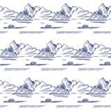 与冰山的无缝的样式 库存照片