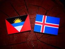 与冰岛旗子的安提瓜和巴布达旗子在树桩iso 免版税库存照片