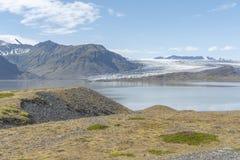 与冰川的风景在Vatnajokul 免版税库存照片