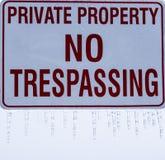 与冰柱的私有财产标志 库存照片