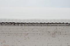 与冰柱的积雪的屋顶 免版税库存照片