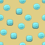 与冰正方形和圆的石头的背景 免版税图库摄影