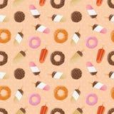 与冰淇凌和五颜六色的鲜美油炸圈饼的无缝的样式 免版税库存图片