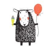 与冰淇凌和气球的绵羊 库存图片