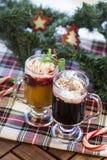 与冰淇凌的圣诞节鸡尾酒 库存照片