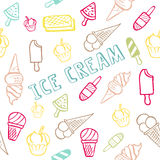 与冰淇凌的无缝的样式与夏天文本 库存照片