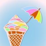 与冰淇凌的明亮的明信片 免版税库存图片