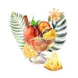 与冰淇淋、果子和花的水彩热带例证 库存例证