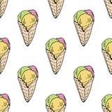 与冰淇淋锥体的无缝的背景与三个味道 皇族释放例证