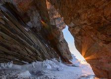 与冰的冬天风景 图库摄影
