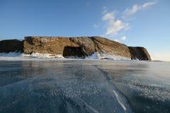 与冰的冬天风景 库存照片