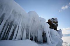 与冰的冬天风景 库存图片