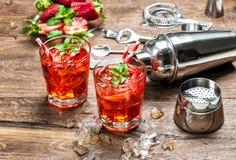 与冰的红色饮料 开胃酒, mojito, caipirinha,汁液, cocktai 库存图片