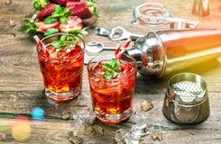 与冰的红色饮料 开胃酒, mojito, caipirinha,汁液, cocktai 免版税库存图片