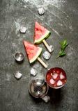 与冰的西瓜鸡尾酒在振动器 库存图片