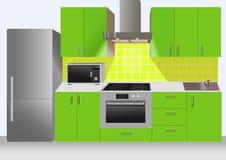 与冰箱的现代绿色厨房内部,微波 免版税库存照片