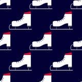 与冰鞋的无缝的冬天样式 库存照片